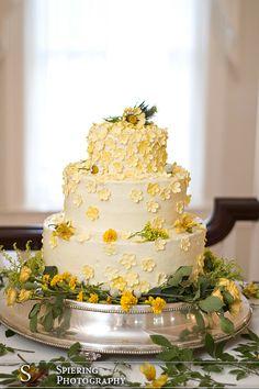 wedding cake | yellow flowers