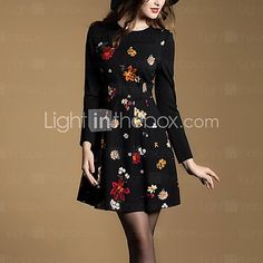 Women's Plus Size / Going out Sophisticated Sheath Dress,Floral Round Neck Above Knee Long Sleeve Black Cotton Fall Mid Rise Micro-elastic - USD $24.99 ! HOT Product! A hot product at an incredible low price is now on sale! Come check it out along with other items like this. Get great discounts, earn Rewards and much more each time you shop with us!