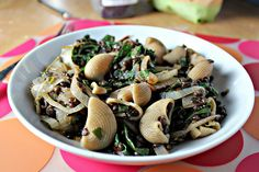 Lentils and Shells with Cilantro-Scented Onions and Swiss Chard