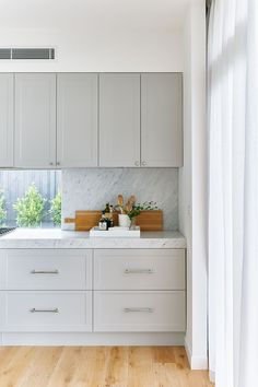 Grey cabinets,subtle front detail,marble look splashback matching counter top Kitchen Interior, Kitchen Design Color, Kitchen Space, Kitchen Room, Grey Kitchen, Kitchen Remodel, Home Kitchens, Kitchen Renovation, Kitchen Design
