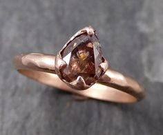 Fancy cut Cognac Diamond Solitaire Engagement 14k Rose Gold Wedding Ring Rough Diamond Ring byAngeline 0791