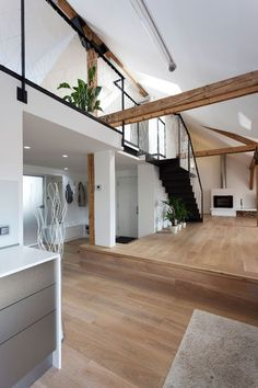The reconstruction of this amazing loft apartment was carried out by B² Architecture in Prague, Czech Republic. The apartment belongs to a business Attic Renovation, Attic Remodel, Lofts, Modern Interior Design, Interior And Exterior, Contemporary Design, Loft Design, House Design, Escape Space