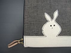 Laptop Case  Custom Size  Black Bunny/White Rabbit by brokesy, $85.00