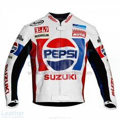 Replica jacket is designed exactly from the Kevin Schwantz 1988 race suit when he took part in the Grand Prix with Pepsi Suzuki  BUY NOW https://www.leathercollection.com/en-us/kevin-schwantz-pepsi-suzuki-gp-1988-motorbike-jacket.html on special price $360.00 USD instead of  $450.00 USD.