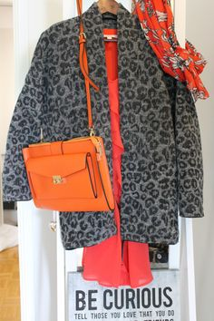 My favorites in one look <3 Animal print, Orange, Boiled wool jacket, Briefcase.