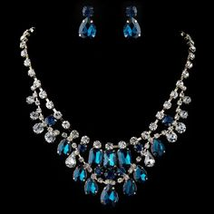 Gold Teal Blue & Clear Pear & Radiant Cut Rhinestone Jewelry Set 82051