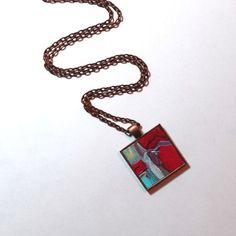 Art Pendant Necklace ~ Original Painting - Wearable Art - Red and Blue Abstract Necklace - Handpainted Pendant