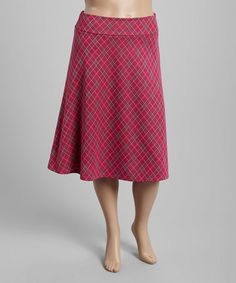 This Magenta Plaid A-Line Skirt - Plus is perfect! #zulilyfinds