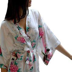 Womens White Kimono Robe- Lightweight & Medium Length.