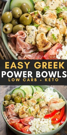 Try these Greek Chicken Power Bowls perfect for a low carb dinner or easy, healthy meal prep! Try these Greek Chicken Power Bowls perfect for a low carb dinner or easy, healthy meal prep! Healthy Low Carb Recipes, Healthy Snacks, Healthy Eating, Good Healthy Meals, Dinner Healthy, Low Carb Dinner Meals, Meal Prep Dinner Ideas, Meal Prep Low Carb, Keto Recipes