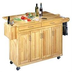 Wood Top Kitchen Cart with Breakfast Bar