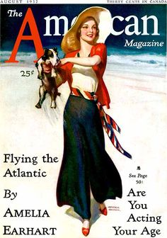 The cute August 1932 cover of The America magazine. #vintage #1930s #summer #fashion #dogs