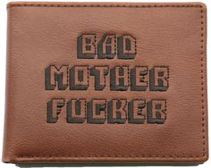 PULP FICTION BMF REAL LEATHER EMBROIDERED BROWN BAD MOTHER FKER WALLET
