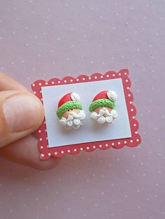Christmas earrings with Santa Claus. They are created from polymer clay without molds or forms. A perfect gift for winter holidays and Secret Santa. The lenght of each earring is 1.2 cm. Suitable also for children. ❀ Price is for one pair of earrings. ❀ I ship the orders very quickly, in 1