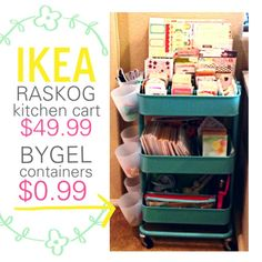 Ikea Raskog kitchen cart hacked into a rolling craft storage bin with Ikea Bygel containers