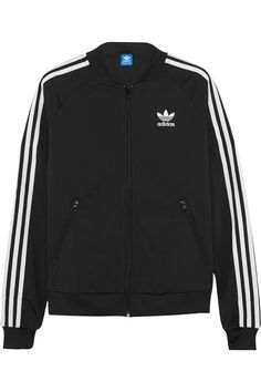 ADIDAS ORIGINALS Superstar Track satin-jersey jacket Grunge Outfits, Grunge Clothes, Black Adidas, Adidas Jacket, Adidas Shirt, Adidas Logo, Striped Jacket, Tailored Jacket, A4