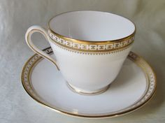 Vintage Classic Gold Rimmed Bone China Tea Cup and Saucer