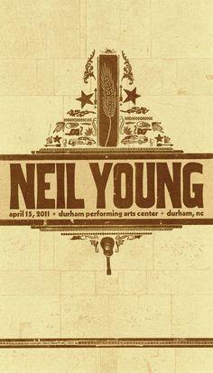 Neil Young, 2-color letterpress show poster, 2011 | Brad Vetter