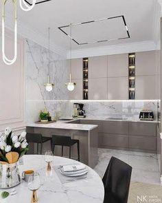 27 Modern Kitchen Interior Design That You Have to Try Kitchen Room Design, Kitchen Dinning, Modern Kitchen Design, Home Decor Kitchen, Interior Design Kitchen, Modern Interior Design, Kitchen Ideas, Round Kitchen, Kitchen Tables
