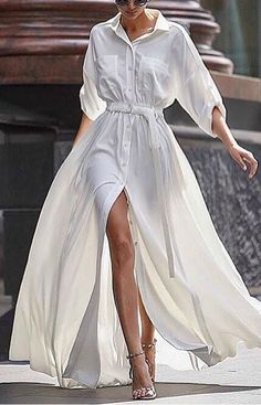 White shirt dress maxi