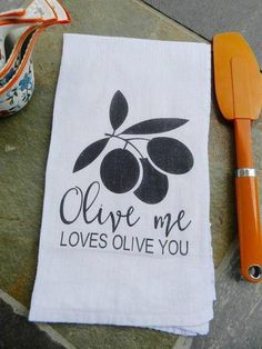 Olive Me Loves Olive You Cute Kitchen Tea Towel Gift for Women