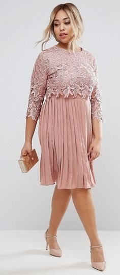 Plus Size Midi Dress With Pleated Skirt
