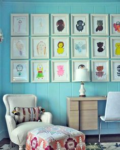 "A ""Go Big"" grid of kid wall art."