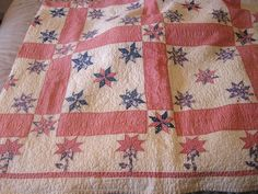 Vintage Quilt Squares with Lemoyne Pattern Hand Quilted 1915 1920 | eBay Old Quilts, Antique Quilts, Star Quilts, Vintage Quilts, Star Blocks, Quilt Blocks, Crochet Quilt, Hand Quilting, Quilt Top