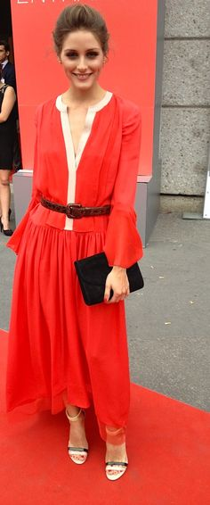 Olivia Palermo in Milan. Love the color of her dress