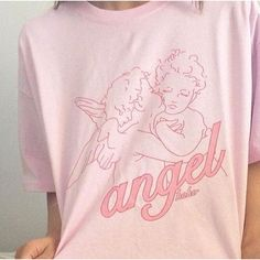 Angel Koko 90s Pink Aesthetic T-Shirt Women Tumblr Fashion Casual Loose Graphic Tee