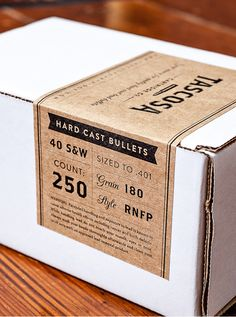 Packaging design for Tascosa Cartridge with kraft paper labels #packaging #simple #type