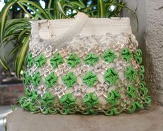 Green-White-Can-Pull-Tab-Beaded-Handbag-Purse-Bag-Soda-Vintage-Cool-Unique
