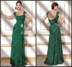 Wholesale Emerald Green Chiffon Modest Evening Dresses Gowns Cap Sleeves Square Neckine A Line Formal Dresses, Free shipping, $109.76-119.84/Piece | DHgate