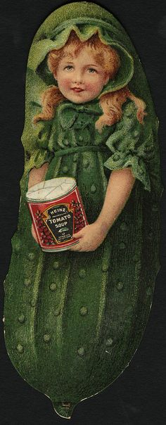 https://flic.kr/p/gHgBLM | Heinz Tomato Soup [front] | <b>File name</b>: 10_03_003623a <b>Binder label</b>: Special Cards: Food <b>Title</b>: Heinz Tomato Soup [front] <b>Date issued</b>: 1870-1900 (approximate) <b>Physical description</b>: 1 print : chromolithograph ; irreg. image of a pickle 13 x 5 cm. <b>Genre</b>: Advertising cards; Cut-paper works <b>Subject</b>: Canned foods; Girls; Soups; Cucumbers <b>Notes</b>: Title from item. <b>Collection</b>: 19th Century American Trade Cards…