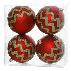 4 inch Red Matte with Green Glitter Chevron Pattern Shatterproof Ball Ornament. Box of 4 comes ready to hang.