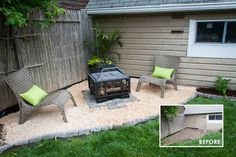 Backyard Makeover with Lowes we added a paver and pea gravel firepit area for two. It's the perfect spot for making s'mores and enjoying a warm spot once the weather turns cooler. Large Backyard Landscaping, Ponds Backyard, Fire Pit Backyard, Backyard Ideas, Landscaping Ideas, Firepit Ideas, Big Backyard, Patio Ideas, Outdoor Ideas