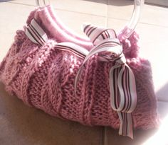 pink cable knit purse