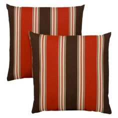 """Target Home™ Rolston 2-Piece Outdoor Toss Pillow Set - Red/Brown Striped 16"""".Opens in a new window"""