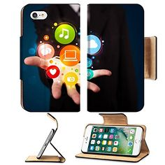 Liili Premium Apple iPhone 7 Flip Pu Leather Wallet Case Young business man in suit presenting colorful technology icons and symbols 28717791 ** To view further for this item, visit the image link. (This is an affiliate link) Apple Iphone 5, Iphone 5s, Leather Wallet, Pu Leather, Cell Phone Accessories, Gadgets, Symbols, Icons, Suit