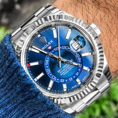 Stainless Steel Skydweller Blue Face! $20500.00 DM Now to get yours! . . . .