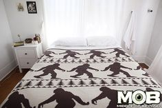 Product in Stock Ships in 1-2 Days Bigfoot Sasquatch Blanket 63 inches x 63 inches Jacquard Knit 60% Cotton 40% Acrylic blend