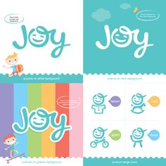 JOY logo represents brand directed at children aged 0 – 8 and their parents with product range – fashion, sport, toys and furniture.  #joy #logo #lettering #typography #baby #kid #children #smile #happy #happiness  Design – Jan Zabransky 2015