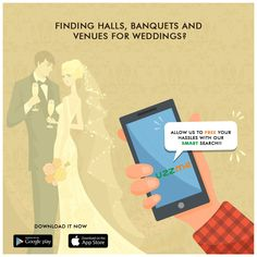 Finding weddings halls is indeed a tough task. Running around places, meetings with the managers of various hotels and banquets was the scenario some decades ago. Now, UZZME made it easy to find the best banquet or function halls without any hassles. Just install and book the best. #weddings #banquets #easysearch #functionhalls Function Hall, Banquet, Hotels, App, Running, Weddings, Search, Book, Places