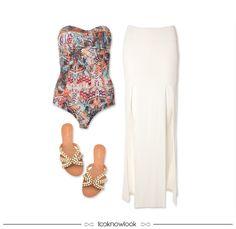 Body estampado + Saia longa com fendas + Sandália rasteira pedrarias #moda #look #outfit #body #saia #sandália #rasteira #verão #ootd #estratosfera #shop #ecommerce #loja #lnl #looknowlook
