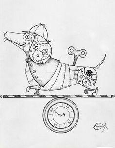 Steampunk Clockwork Dachshund WIP by EpHyGeNiA