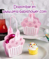 Recuerdos para Baby Shower - Dulcero Muffin Rosa, Pastelito Rosa - Disponible en www.pkts-babyshower.com