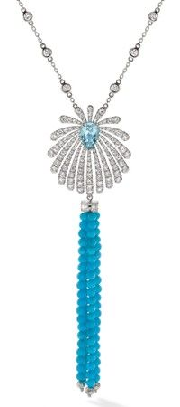 Boodles Riviera pendant in platinum, set with a 1.40ct pear-shaped Paraiba tourmaline and diamonds, with a detachable turquoise bead tassel