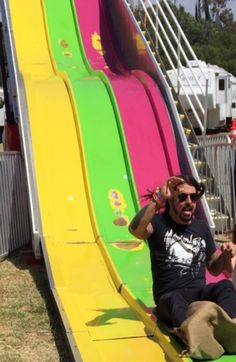 Dave Grohl at the fun fair where Chevy metal played May 9, 2015