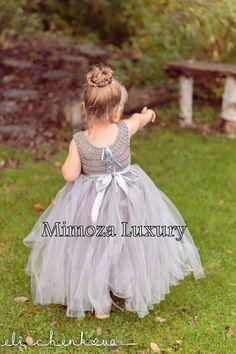 Silver Grey Flowergirl dress tutu dress bridesmaid dress