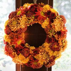 Chrysanthemum Floral Wreath. Use cut and styled chrysanthemums to showcase fall's beauty indoors and out.